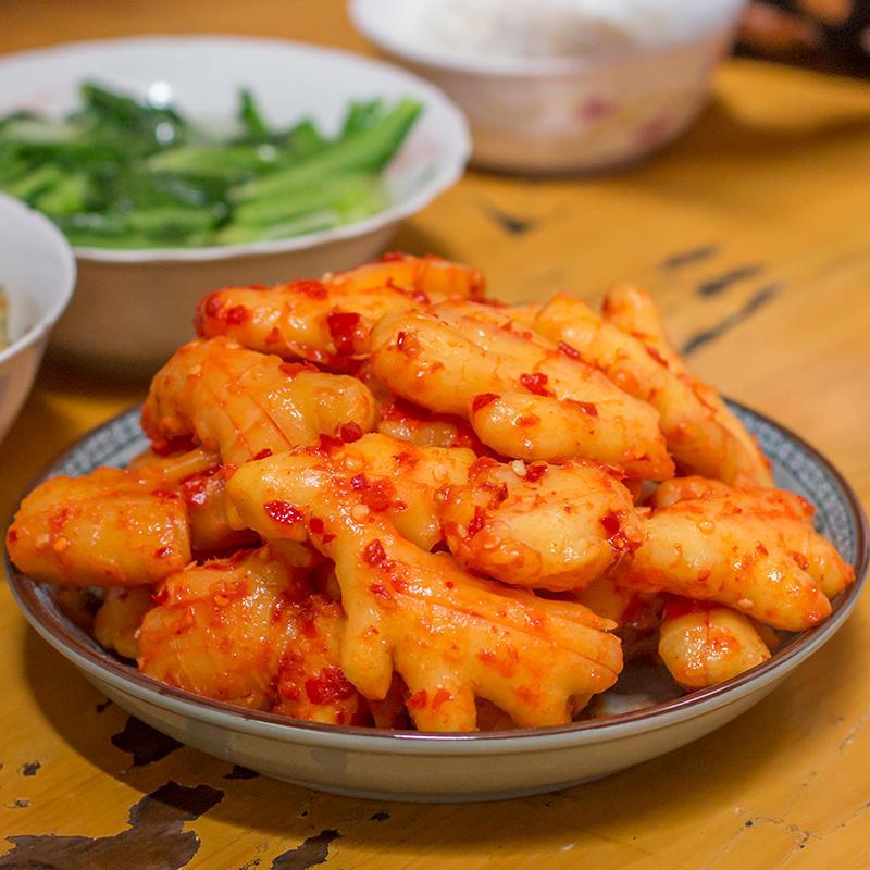 湖南特产农家手工腌生姜片酸辣生姜泡菜咸菜开胃下饭私房菜500g